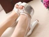 韩国爆款单鞋鱼嘴高跟鞋金色银色婚鞋粗跟女鞋高跟防水台凉鞋