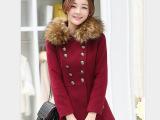 2014秋冬新款毛领羊毛呢外套女中长款 大衣修身韩版百搭女风衣潮