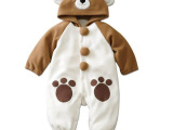 工厂童装现货批发 咖啡熊动物造型哈衣簿款 婴幼儿连体哈衣 爬服