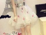 2014春夏季新款周迅同款刺绣欧根纱蓬蓬裙公主裙连衣裙