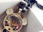 韩版高档黑珠可爱气质彩钻玻璃小熊长款项链毛衣链