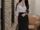 韩国SZ代购2015夏季女装正品高端职业装套装V领假两件套OL连