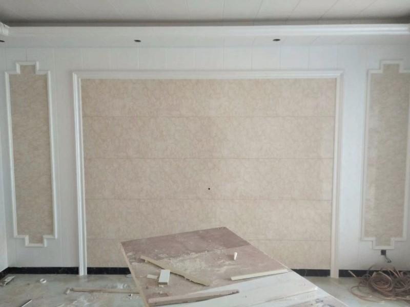 集成墙面装修效果图 集成墙样板间 竹木纤维墙面
