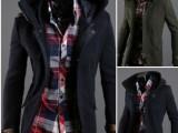 2012秋冬新款 外贸出口男装男士休闲连帽呢大衣 好品质修身呢外
