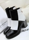 13新款 时尚欧美气质 拼色粗跟中跟靴
