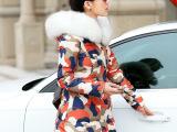 加厚迷彩棉衣女中长款新款棉服2014冬装潮毛领羽绒服外套修身棉袄