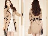 2015春秋装新款中长款韩版女装外套女款双排扣修身显瘦潮风衣女