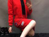 唯艾曼小辣椒休闲套装女秋时尚小外套+高腰修身显瘦图标呢料套装