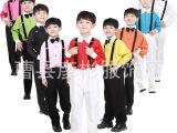 儿童表演服 少儿大合唱服装 长袖背带裤套装男童小主持人服装礼服