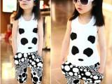 童装一件待发代销免费夏季女童莫代尔熊猫背心+透气7分跨裤套装