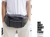 韩版2014休闲腰包铆钉小包包夏季包男士包柳丁潮流包包厂家直销