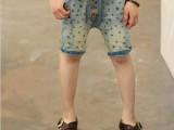 童装夏款 儿童中大童中裤 男童五角星印花字母绣花牛仔裤五分裤