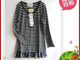 春夏新款韩版黑白横条+纱料女式短连衣裙 纯棉100%百搭款促销