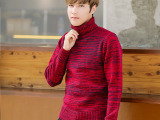 韩国模特 时尚潮流颜色靓丽 男士修身高领毛线衫毛衣 一件代发