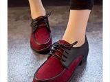 新款 2014早春原宿街拍撞色vivi欧美复古英伦系带女鞋厚底松