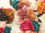 老婆大人韩版饰品珍珠蕾丝发圈 发饰花朵布料头饰发圈批发