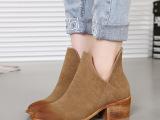 2015秋冬欧美新款靴尖头中跟粗跟V口短靴女马丁靴及踝靴磨砂裸靴