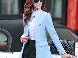 2015秋季韩版新款女修身显瘦气质中长款长袖小西服休闲西装外套潮