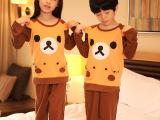 儿童睡衣男孩女童纯棉卡通长袖空调服睡衣套装可爱轻松熊家居服套