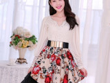 2014春夏装新款韩版灯笼袖V领蕾丝连衣裙修身雪纺打底裙