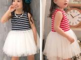 15外贸童装夏女童短袖公主连衣裙 儿童公主裙彩条纱网连衣裙
