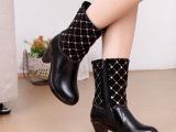 2014新款女靴短靴马丁靴欧洲站高帮粗跟女皮靴侧拉链高跟时装靴子