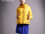 2015秋冬新款新款欧美女式棉衣 貉子毛拼接显瘦短款高领棉衣