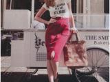2014春装LENA秀vivi日本拉链口袋开叉针织包臀半身裙中裙