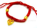 仿黄金转运珠 大人小孩礼物 圆珠黄金手链 佛珠手链情侣红绳手链