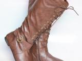 欧美2014秋冬新款英伦圆头过膝长靴系带平底平跟舒适保暖高筒靴子