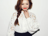 韩国stylenanda复古唯美可爱萝莉镂空刺绣刻花灯笼袖长袖衬