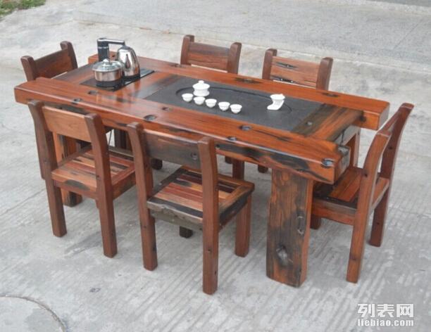 郑州老船木茶桌茶几实木功夫茶台原生态中式船木家具促销