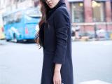 韩版修身加厚西装领毛呢外套 女 中长款双排扣纯色羊绒呢子大衣