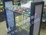 供应木制玻璃中岛柜带灯箱,汽车精品展示柜