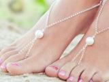 欧美外贸新款脚饰 夏季百搭沙滩美 简约夸张大珍珠连指脚链