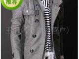 外贸出口单!首尔时装周 秋冬新款 双排扣立领肩章 中长款呢风衣