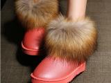 女雪地靴批发女鞋工厂直销圆头女短靴 外贸雪地靴 仿狐狸毛雪地靴