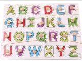 木制质英文大写字母认知手抓板拼图拼板 儿童益智宝宝动手玩具