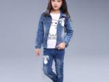 2015新款春秋装女童装棉牛仔三件套长袖中大儿童休闲套装一件代发