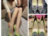 厂家直销2014新款水钻尖头细超高跟单鞋女羊真浅口女鞋一件代发