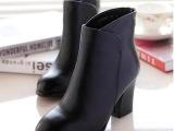 欧洲站批发2014秋冬爆款真皮女鞋中跟尖头粗跟短靴女一件代发