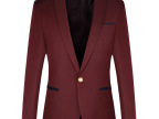 2014春季新款男士高端休闲西服酒红色韩版修身JDV风格拼接西装
