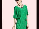新款气质大码女装2014夏季新款休闲胖mm连衣裙收腰显瘦宽松裙子