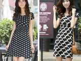 清仓特价夏季短袖女式连衣裙 韩版修身显瘦中长款水晶绒连衣裙
