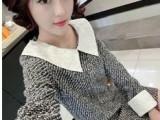 8173#韩国设计尖角蕾丝翻领连衣裙 小香风修身冬裙