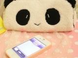毛绒大眼害羞熊猫长条笔袋化妆包收纳包笔袋零钱包相机包
