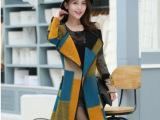 90776#2014秋冬新款韩版修身中长款西装领羊毛呢大衣毛呢外