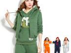 厂家直销2014新款卫衣三件套加厚加绒女韩版秋冬套头女式卫衣套装