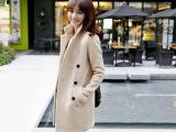 新款修身翻领羊毛面料韩版纽扣毛呢大衣 秋季风衣女 呢子大衣女款