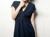 特价女装批发 欧洲站夏季女式OL气质时尚纯色短袖深V连衣裙